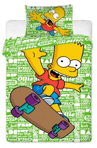 Jerry Fabrics Dětské oboustranné povlečení Bart Simpson, 140x200 cm/70x90 cm - zelené