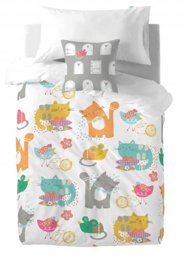 Moshi Moshi Dětské povlečení Cat & Mouse, 140x200 cm/40x40 cm