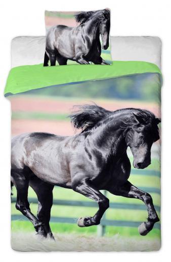 Jerry Fabrics Dětské oboustranné povlečení Černý kůň, 140x200/70x90 cm - barevné