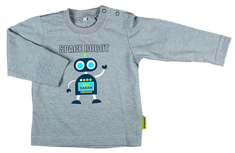 MMDadak Chlapecké tričko s robotem - šedé