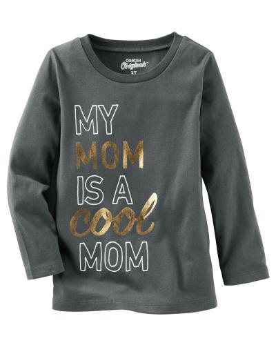 Oshkosh Dětské tričko Cool mom - tmavě šedé