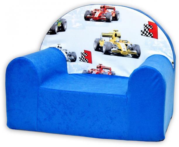 Baby Nellys Dětské křesílko Závody Formulí v modrém