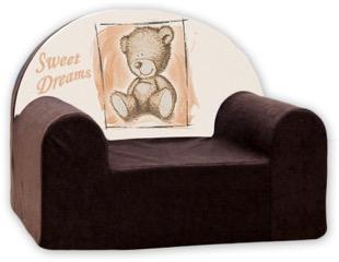 Baby Nellys Dětské křesílko Sweet Dreams by Teddy - hnědé