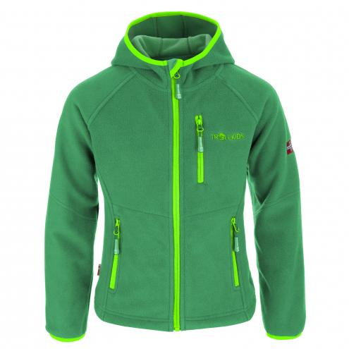 Trollkids Dětská fleecová bunda Stavanger s kapucí - zelená