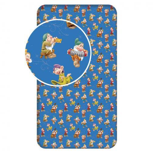 Jerry Fabrics Dětské prostěradlo Sněhurka a sedm trpaslíků, 90x200 cm - modré