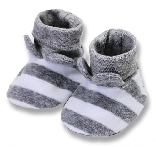 Lafel Dětské pruhované ponožky/capáčky Panda - šedé