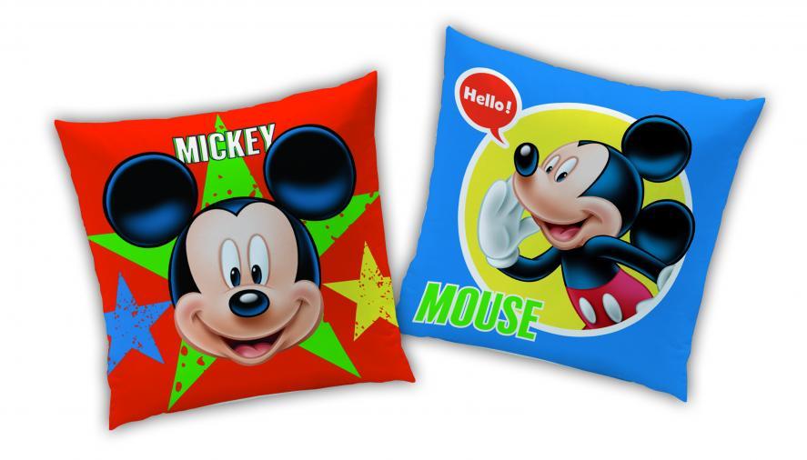 CTI Dětský oboustranný polštář Mickey Mouse, 40x40 cm - barevný