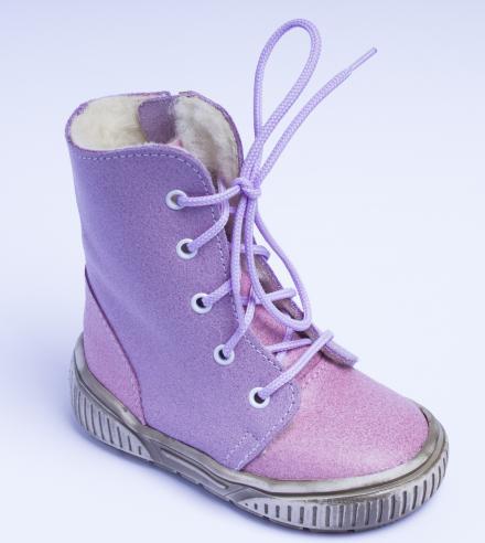 První krůčky Dívčí zimní boty se zipem - růžovo-fialové
