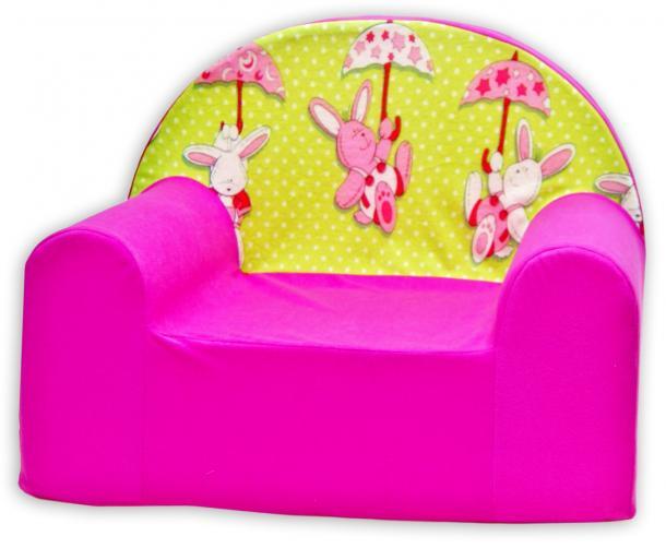 Baby Nellys Dětské křesílko Zajíček a deštník v růžové