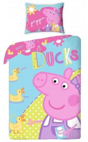 Halantex Dětské oboustranné povlečení Peppa Pig - Ducks, 140x200 cm/70x90 cm - barevné