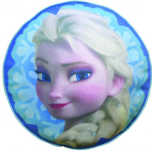 CTI Dětský kulatý polštář Frozen - Elsa, 36 cm - modrý