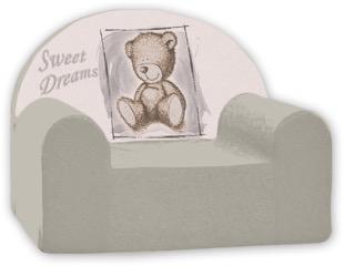 Baby Nellys Dětské křesílko Sweet Dreams by Teddy - šedé