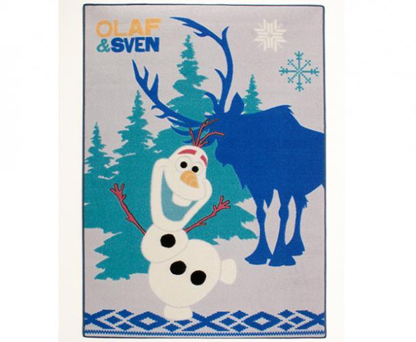 Carpet your life Dětský koberec Frozen - Olaf a Sven, 95x133 cm - šedo-modrý