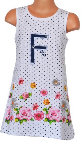 Topo Dívčí putníkované šaty s květy - bílé