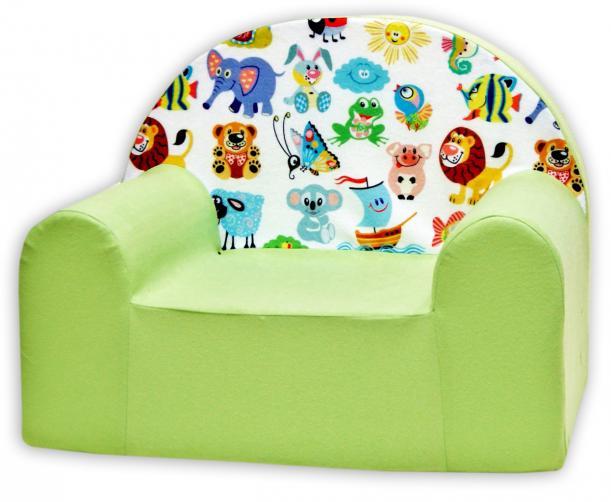 Baby Nellys Dětské křesílko Veselá zvířatka v zelené