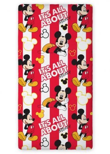Faro Dětské bavlněné prostěradlo Mickey Mouse, 90x200 cm - červeno-bílé
