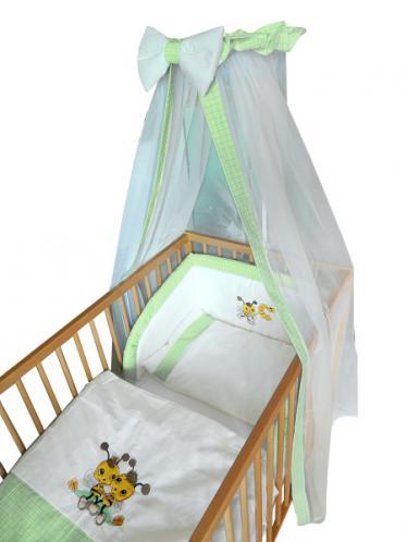 Cosing Dětská 4 dílná sada povlečení De Luxe Včelka - zelený lem