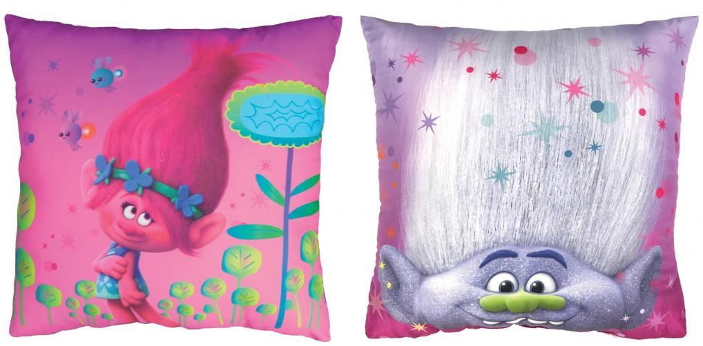 CTI Dětský oboustranný polštář Trollové - Poppy a Branch, 40x40 cm - barevný