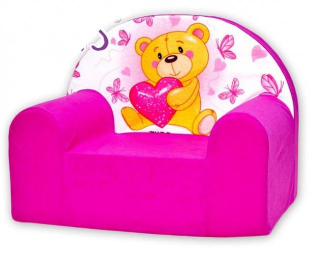 Baby Nellys Dětské křesílko Míša srdíčko růžové