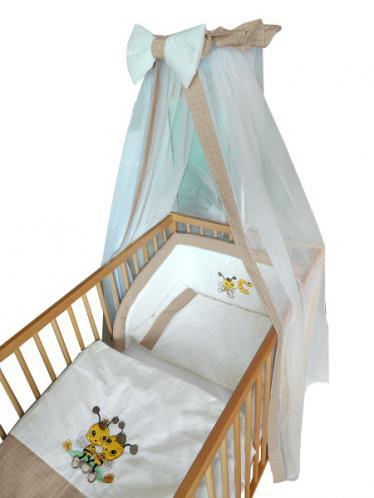 Cosing Dětská 4 dílná sada povlečení De Luxe Včelka - hnědý lem