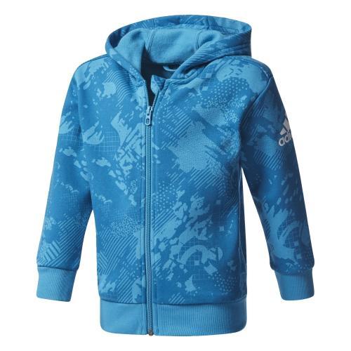adidas Chlapecká mikina LK LOGO FZ HD - modrá