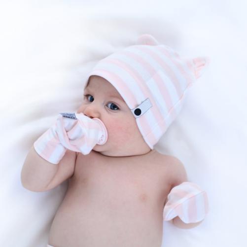 Lamama Dívčí čepice Stripes - růžovo-bílá