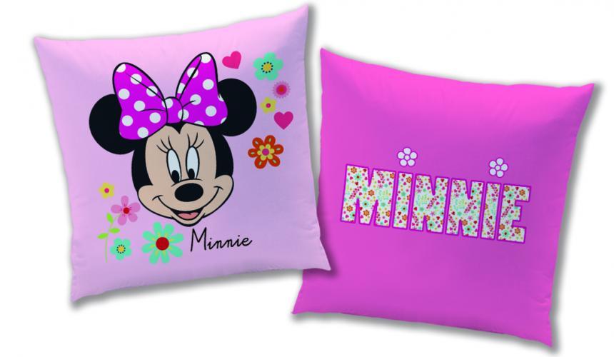 CTI Dětský oboustranný polštář Minnie, 40x40 cm - růžový