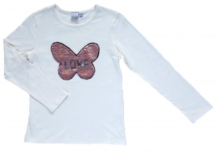 Topo Dívčí tričko s otočnými flitry - bílé