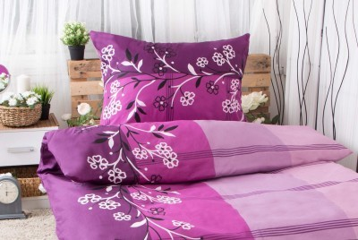 XPOSE ® Prodloužené bavlněné povlečení ADINA - fialová 140x220, 70x90