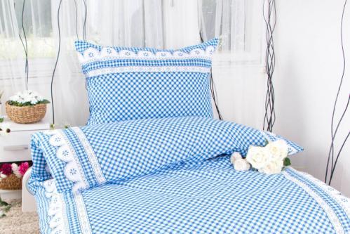 XPOSE ® Prodloužené bavlněné povlečení APOLENA - modrá 140x220, 70x90