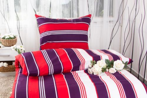 XPOSE ® Prodloužené bavlněné povlečení NIKOL EXCLUSIVE - červenofialová 140x220, 70x90