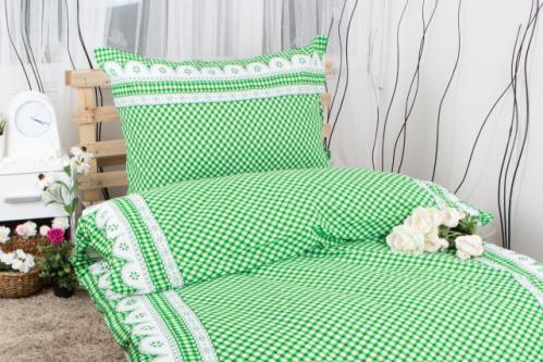 XPOSE ® Prodloužené krepové povlečení APOLENA - zelená 140x220, 70x90