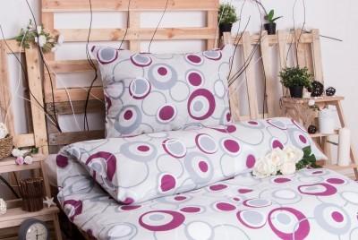 XPOSE ® Bavlněné povlečení na dvě lůžka HEDVIKA - šedo-fialová 140x200, 70x90