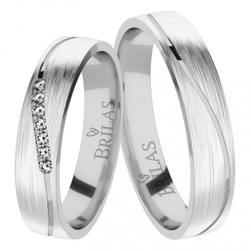 Afra White Briliant - snubní prsteny z bílého zlata