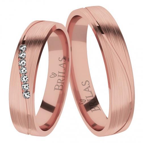 Afra Red Briliant - snubní prsteny z červeného zlata s brilianty