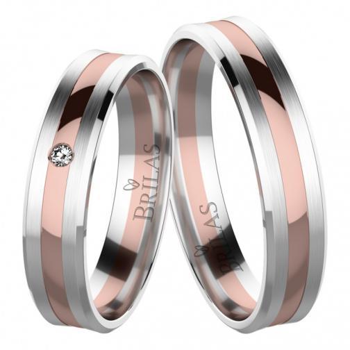 Mahdi Colour RW - zlaté snubní kombinované prsteny