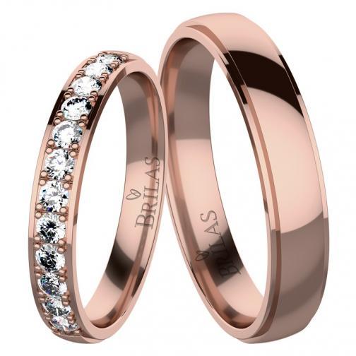 Angelika 12 Red - snubní prsteny z červeného zlata