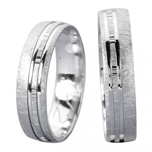 Utopia White - moderní zlaté snubní prsteny v bílém provedení