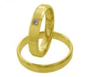 Grande stone - zlaté snubní prsteny se zirkonem