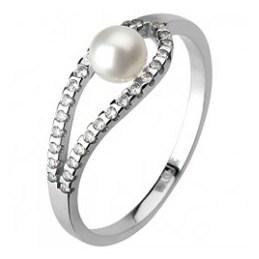 Romantic Pearl - luxusní zásnubní prsten z bílého zlata