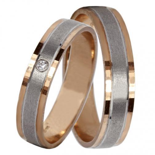 Adonis Colour RW - snubní prsteny z červeného a bílého zlata