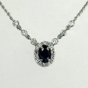Crown řetízek + přívěsek se safírem a diamanty CW25-005