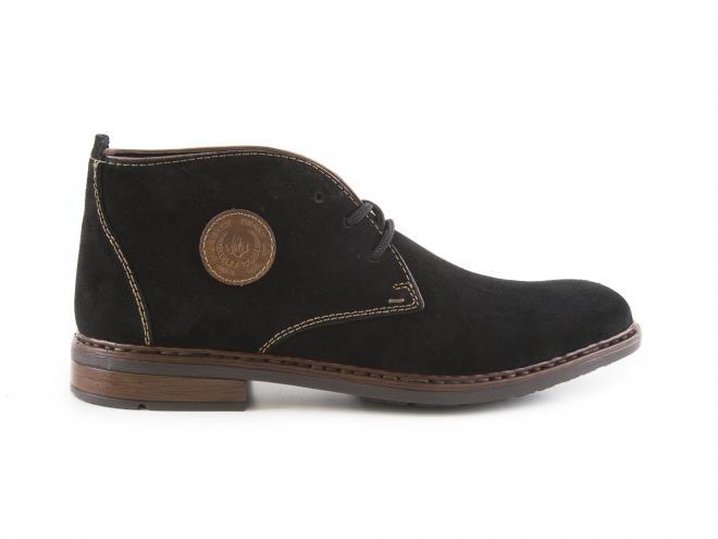 Rieker - Pánské mírně zateplené kotníkové boty z broušené kůže se šněrováním F1211-00