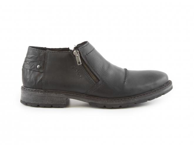 Rieker - Pánské zateplené kožené boty ke kotníku se dvěma zipy 18153-00