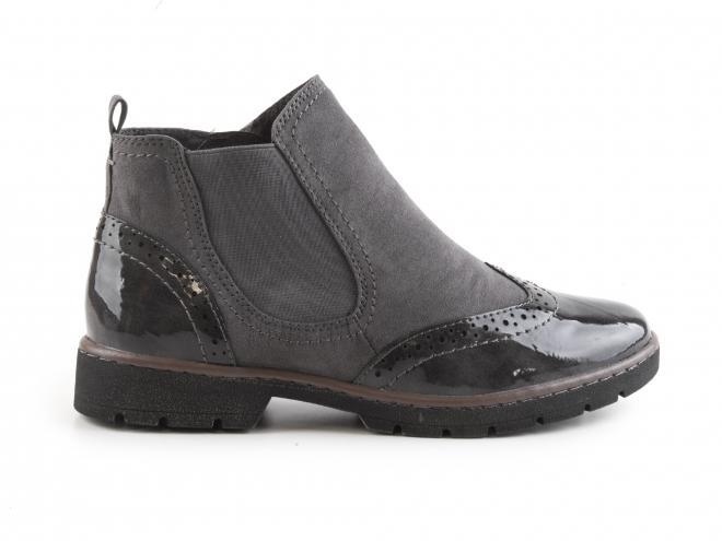 Jana - Dámské kotníkové boty se zipem a lakovanými díly šíře H 8-25466-29