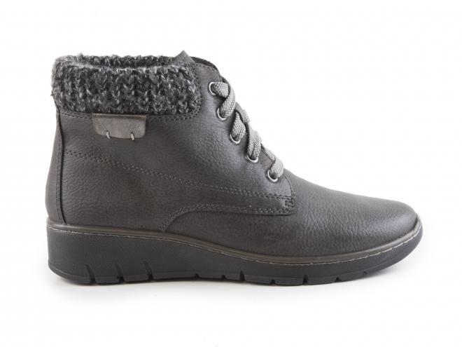 Jana - Dámské zateplené kotníkové boty na klínku s kožichem šíře H 8-25209-29