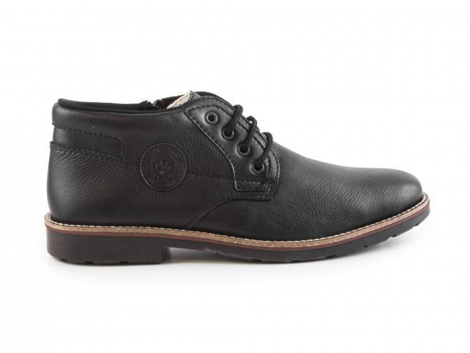 Rieker - Pánské kožené zateplené kotníkové boty se šněrováním, zipem a ovčí vlnou 15339-00