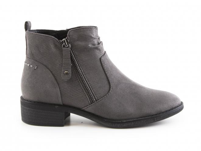 Jana - Dámské kotníkové boty na nízkém podpatku s okrasným i funkčním zipem šíře H 8-25364-29