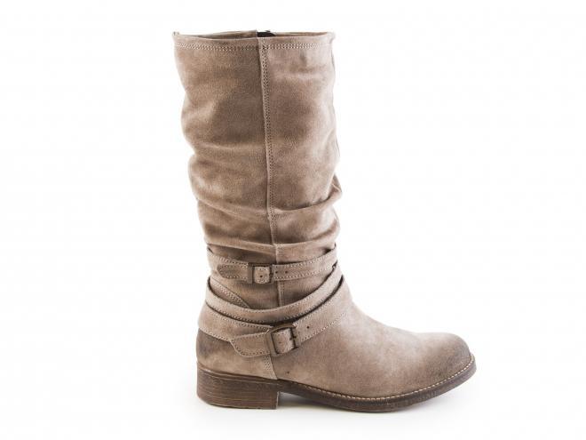 Tamaris - Dámské zateplené kozačky pod kolena z broušené kůže na nízkém podpatku 1-25455-29