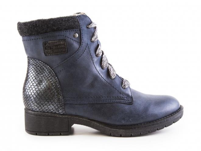 Jana - Dámské kotníkové zateplené boty se šněrováním a zipem šíře H 8-25261-29